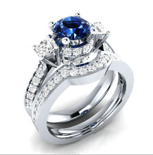 Women 925 Silver Round Cut Blue & White Sapphire Elegant Wedding Ring Size 10