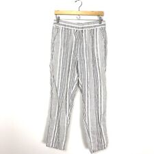 C&C California Women's S100% Linen Striped Pants White Gray Pockets Straight A2