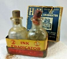 H. H.Ink Eradicator Two Cork Top Bottles With Stoppers In Box 1920 Era