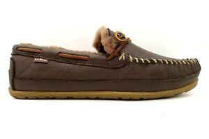 LL Bean Logo Brown Leather Moc Toe Faux Fur Lined Deck Slippers Shoes Men's 14