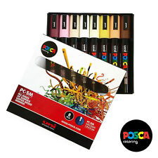 Uniball Posca PC-5M Paint Art Marker Pens - Skin Tone Set of 8 - In Gift Box