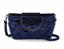 Studio 33 Navy Blue Velvet High Key Satchel Evening Bag Crossbody Purse $125