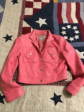 WORTH Petite 100% Genuine Leather Bubble Gum Pink Jacket/Coat 4 Cropped