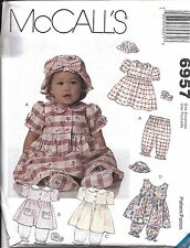 6957 UNCUT Vintage McCalls Sewing Pattern Baby Girls Dress Pantaloons Hat Shoes