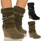 Ladies Ankle Boots Mid High Wedge Heel Winter Sock Biker Knee Calf Size