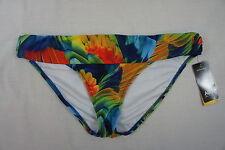Bikini Bottom ABS Allen Schwartz Sz 12 Blue Red Green Multi Color Swimwear