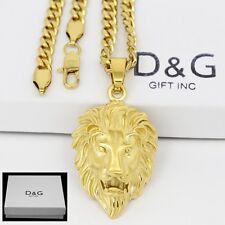 """DG Men's Gold Stainless Steel.Lion Head Pendant 24"""" Cuban Curb Necklace**Box"""