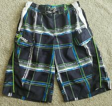 ZeroXposur Swim Shorts Trunks Boys Size 10/12 Lined Swimwear Black Blue Green