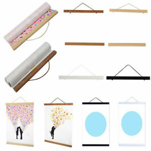 DIY Magnetic Wooden Poster Frames A4 Print Painting Scroll Simple Picture Hanger