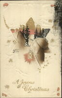 Christmas - Santa Claus Brown Coat Star Border c1910 Postcard