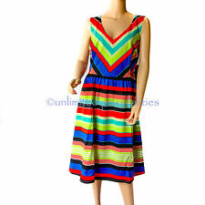 ESTELLE Multi Bright Striped Dress Multi-coloured V Neck Size 18 New with Tags