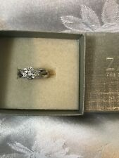NWT ZALES STERLING SILVER WHITE SAPPHIRE RING SZ 7 IN BOX