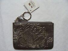 NWT COACH 43780 Jewel Madison Skinny Hematite Leather Coin case Purse Key holder