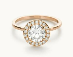 1.20 Ct Moissanite Round Cut Rose Gold Proposal Ring 18K Solitaire Girl ring