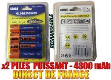 2 Piles AA 4800mAh Rechargeable Mignon LR6 1.2V Ni-Mh  TRES PUISSANT - DE FRANCE