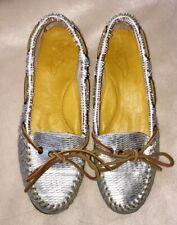 New 2568 Silver Leather Women Boat Shoe In Size 8