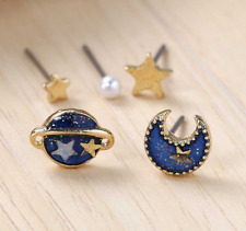 Summer Deep Blue Five Point Star Moon Planet Stud Earrings