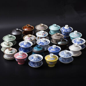 tea cup and saucer gaiwan porcelain Chinese gaiwan tea cup tureen antique lid