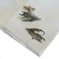 Cufflinks Handmade in England Angler Silver Pewter Fishing Fly High Quality