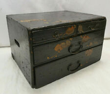 Antique Sugi and Keyaki  Wood Box Decals Japanese Drawers Circa 1920s #1061