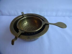 Vintage Tea Strainer Solid Brass for Loose Tea on Chinese Bowl