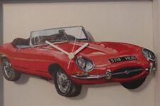 Red E Type Jaguar/Jag Car Novelty handmade Wooden clock made in UK by Lark Rise