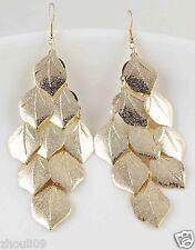 9k Yellow Gold Filled Women Elegant Rhinestone Ear Stud dangle Earrings e489