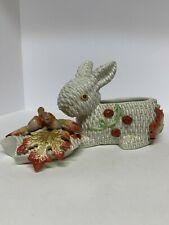 "Vintage Fitz and Floyd Autumn Fields Bunny box/bowl w lid approx 7.5""x 6.5 inch"