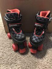 Roller Derby Boy's Adjustable Size 3-6 Roller Skates Black Red Gray Checkerboard