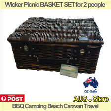 Wicker Picnic BASKET SET for 2 people, BBQ Camping Beach Caravan Travel