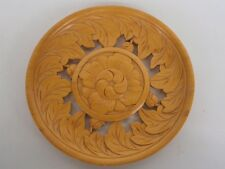 WOODEN CARVED FLORAL Relief Wall Sculpture - 225mm diam