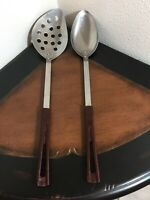 Vintage Stanley Stanhome Stainless Kitchen Utensils 2 Serving Spoons 1 Slotted