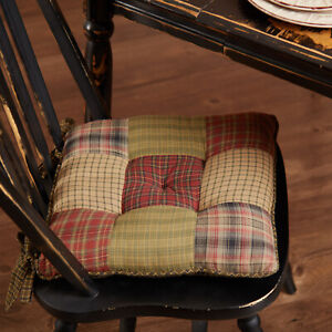 """VHC Brands Rustic 15"""" Chair Pad Green Patchwork Tea Cabin Kitchen Table Decor"""