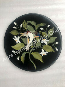 "18"" Marble Coffee Outdoor Table Top Bird Marquetry Inlay Decor Furniture"