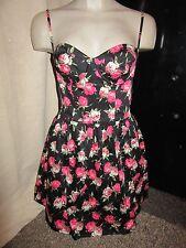 Nuevo Con Etiquetas $100 Topshop Vestido Reino Unido 10 Negro Rosa Patrón Floral equipado con Cable de boda