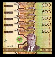 TURKMENISTAN  500 MANAT 2005 UNC 5 PCS CONSECUTIVE LOT P.19