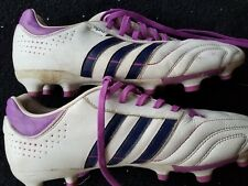 ADIDAS 11PRO 11NOVA WHITE CLEATS W/BLUE TRIM/PURPLE LACES WOMENS SIZE 8.5