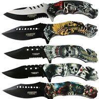Print Handle Spring Assisted Pocket Knife Folding Tactical Open Serrate Blade