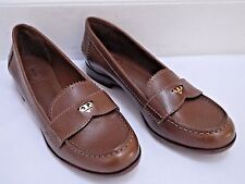 NEW TORY BURCH $250 Pennie Penny Loafer brown saffiano leather shoes size 7.5