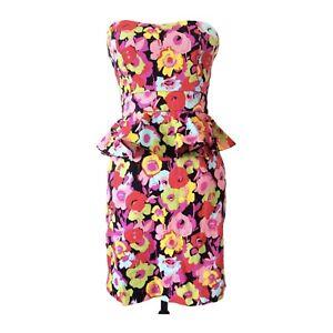 NEW LOOK 10 Floral Peplum Dress Pink Multi Strapless Retro Pencil Mini Colourful