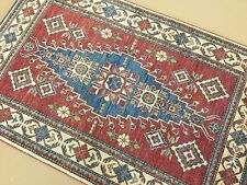 4 X 6 Red Beige Geometric Persian Oriental Rug Runner Hand Knotted Wool Entrance