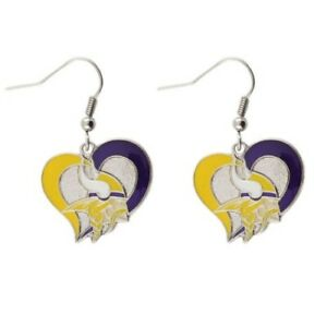 Minnesota Vikings Football Team NFL Heart Swirl Charm Silver Dangle Earrings Set