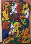 "Haitian Folk Art Painting by F. ST Vil Haitian  Market scene 16""x 24"" rare"