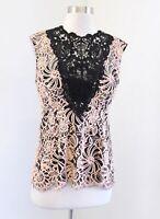 Nanette Lepore Peach Black Ornate Floral Lace Illusion Top Blouse 6 Sleeveless