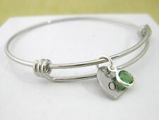 Personalized Adjustable Bangle Bracelet Birthstone & Heart with Initial Gift