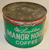 Vintage 1950s Manor House McLaughlin COFFEE GRAPHIC KEYWIND COFFEE TIN 1 POUND