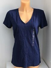 VICTORIA'S SECRET VS PINK V-Neck Blue with White Speck Sleep Tee Size L|G BNWT