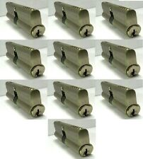 NU-SET Euro Profile Cylinders 75mm Solid Brass Double Sided Locks 10 Keyed Alike
