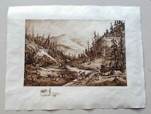 Charles Vanderhoof 1880s Original Pencil Signed Western Gold Mining Etching