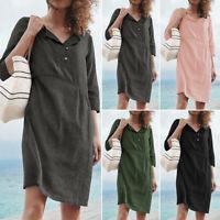 ZANZEA Women Summer Short Sleeve Beach Dresses Ladies Mini Shirt Dress Plus Size